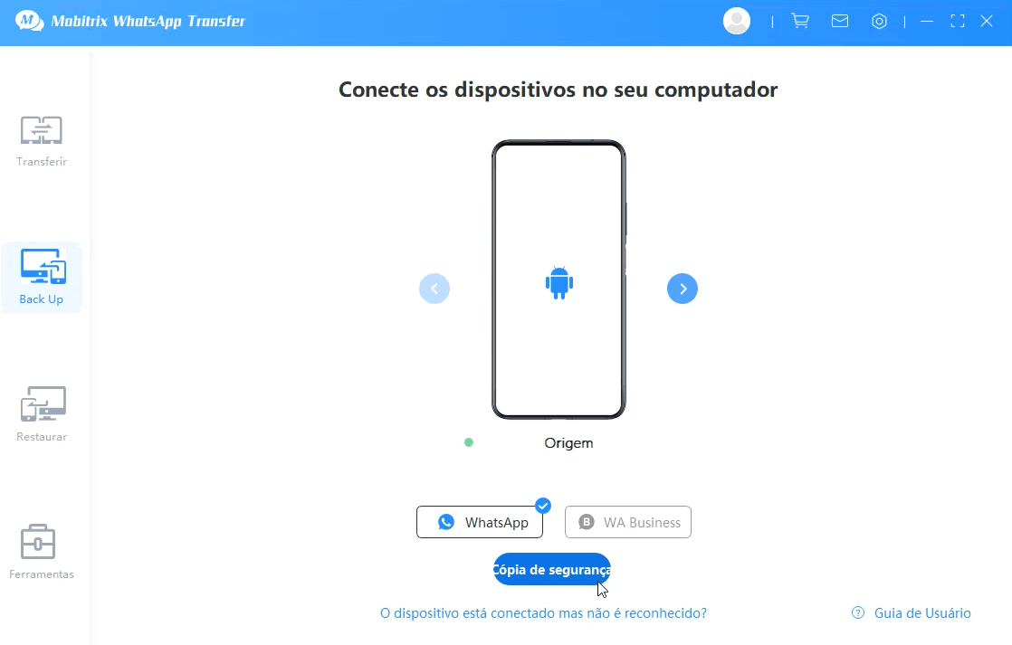 connect the device and start to backup