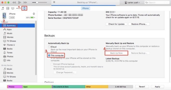 backup iphone whatsapp via itunes