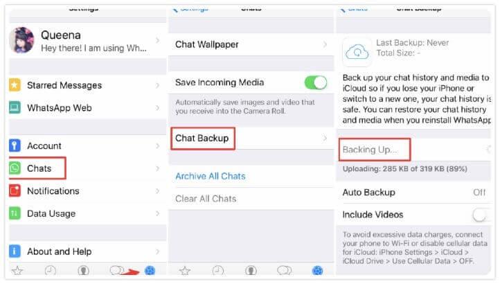 backup whatsapp chat iphone