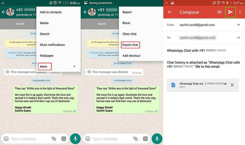 export whatsapp messages via email