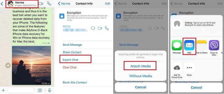 export whatsapp chat via email