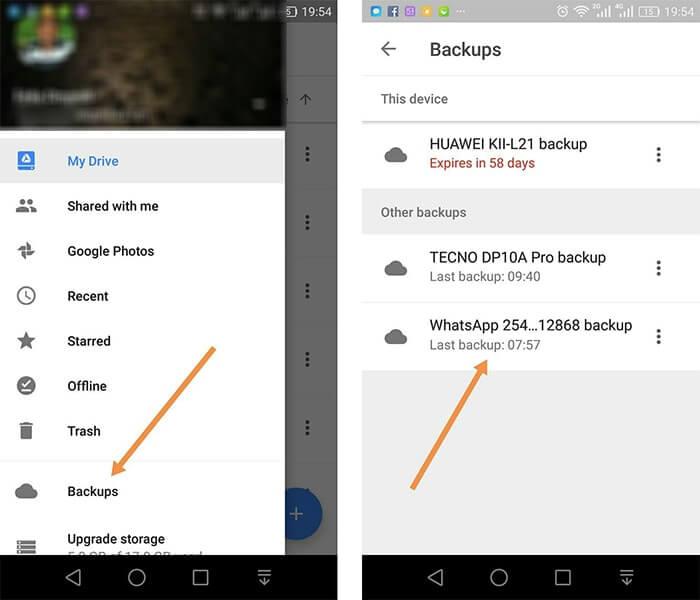 google drive whatsapp backup location