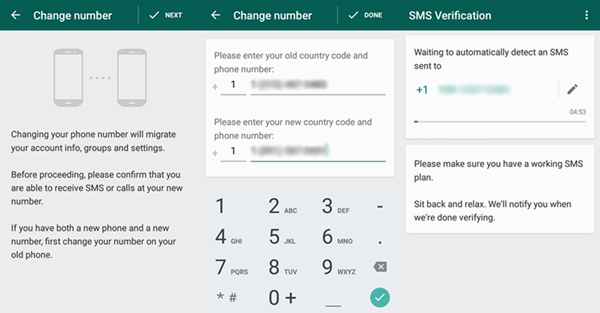 whatsapp android verify new number