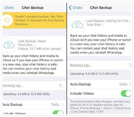 whatsap backup stuck iphone