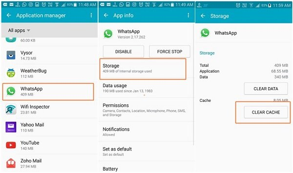 clear whatsapp cache android